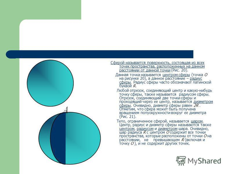 Сферой называется поверхность, состоящая из всех точек пространства, расположенных на данном расстоянии от данной точки (Рис. 20). O R Данная точка называется центром сферы (точка O на рисунке 20), а данное расстояние – радиус сферы. Радиус сферы час