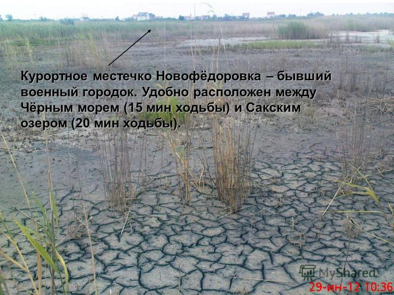 Курортное местечко Новофёдоровка – бывший военный городок. Удобно расположен между Чёрным морем (15 мин ходьбы) и Сакским озером (20 мин ходьбы).