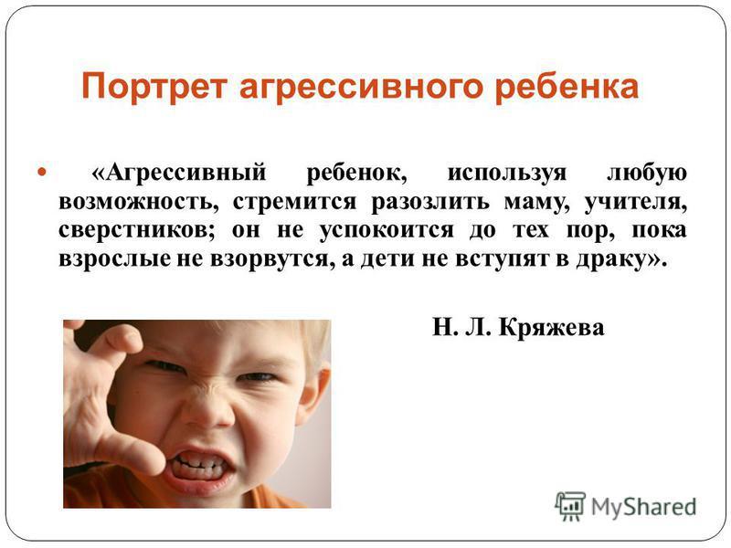 Портрет агрессивного ребенка « Агрессивный ребенок, используя любую возможность, стремится разозлить маму, учителя, сверстников ; он не успокоится до тех пор, пока взрослые не взорвутся, а дети не вступят в драку ». Н. Л. Кряжева