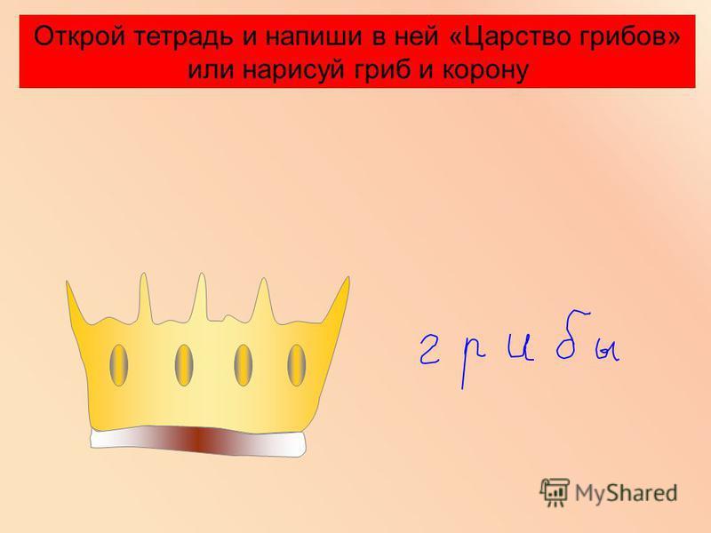 Открой тетрадь и напиши в ней «Царство грибов» или нарисуй гриб и корону