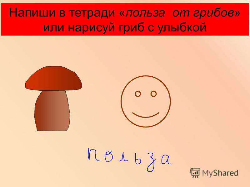 Напиши в тетради «польза от грибов» или нарисуй гриб с улыбкой