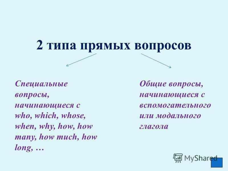 2 типа прямых вопросов Специальные вопросы, начинающиеся с who, which, whose, when, why, how, how many, how much, how long, … Общие вопросы, начинающиеся с вспомогательного или модального глагола