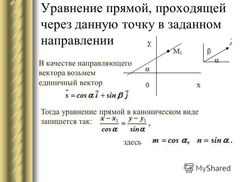 Уравнение прямой, проходящей через данную точку в заданном направлении В качестве направляющего вектора возьмем единичный вектор Тогда уравнение прямой в каноническом виде запишется так: здесь