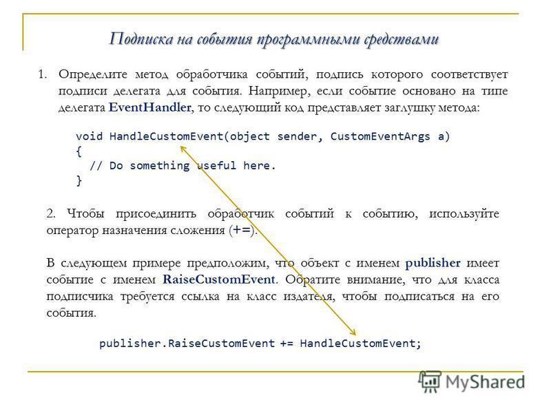 Подписка на события программными средствами 1. Определите метод обработчика событий, подпись которого соответствует подписи делегата для события. Например, если событие основано на типе делегата EventHandler, то следующий код представляет заглушку ме