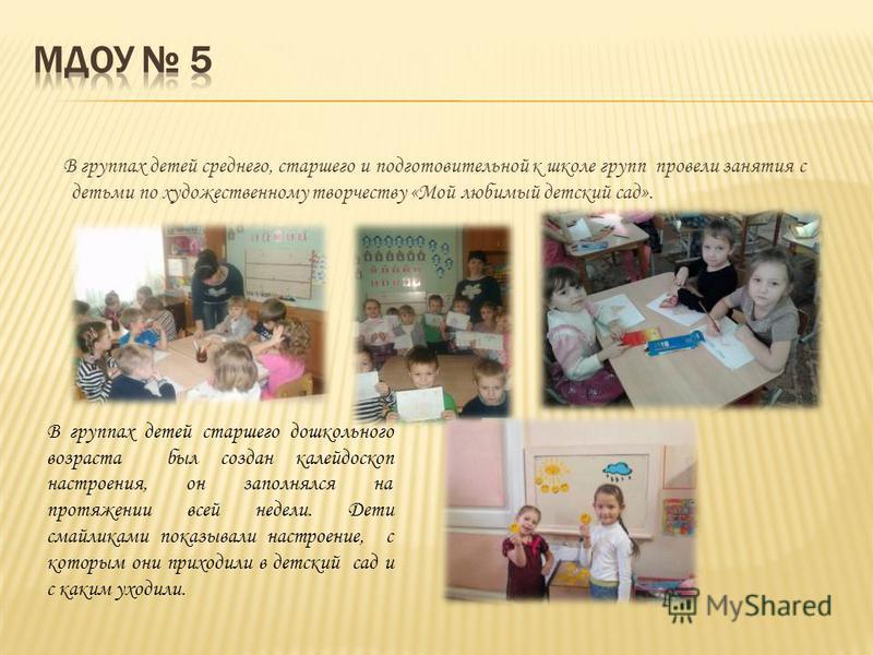 В группах детей среднего, старшего и подготовительной к школе групп провели занятия с детьми по художественному творчеству «Мой любимый детский сад». В группах детей старшего дошкольного возраста был создан калейдоскоп настроения, он заполнялся на пр