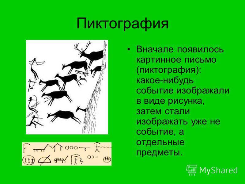 Пиктография Вначале появилось картинное письмо (пиктография): какое-нибудь событие изображали в виде рисунка, затем стали изображать уже не событие, а отдельные предметы.