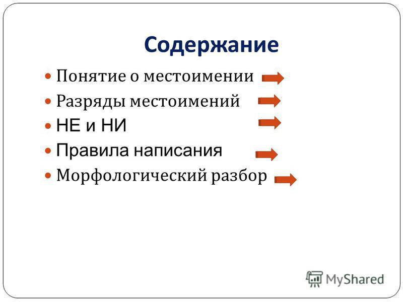 Содержание Понятие о местоимении Разряды местоимений НЕ и НИ Правила написания Морфологический разбор