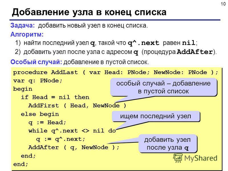10 Добавление узла в конец списка Задача: добавить новый узел в конец списка. Алгоритм: 1)найти последний узел q, такой что q^.next равен nil ; 2)добавить узел после узла с адресом q (процедура AddAfter ). Особый случай: добавление в пустой список. p