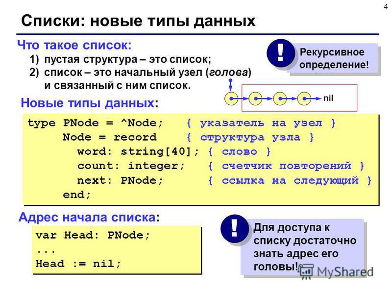 4 Что такое список: 1)пустая структура – это список; 2)список – это начальный узел (голова) и связанный с ним список. Списки: новые типы данных type PNode = ^Node; { указатель на узел } Node = record { структура узла } word: string[40]; { слово } cou