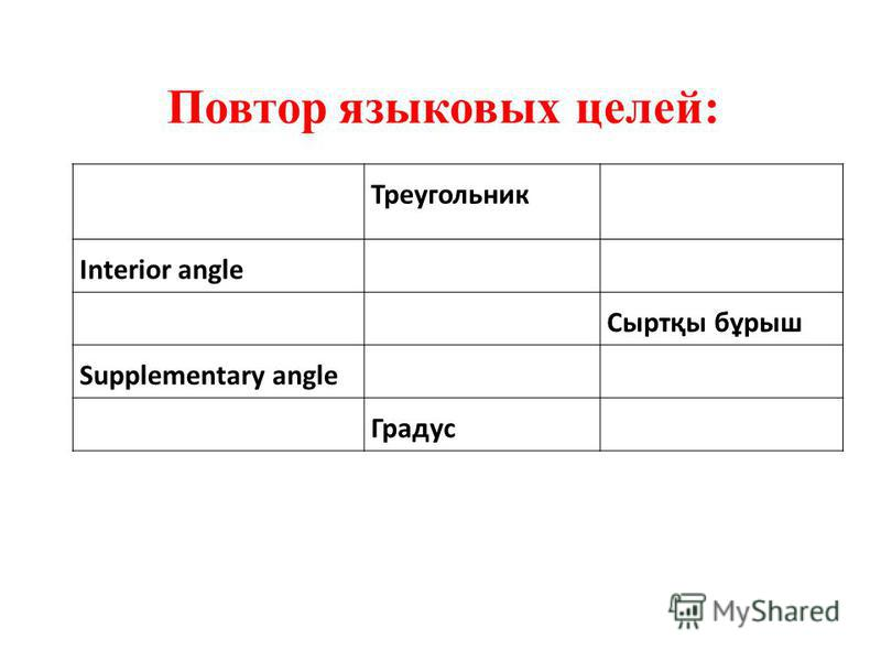 Треугольник Interior angle Сыртқы бұрыш Supplementary angle Градус Повтор языковых целей: