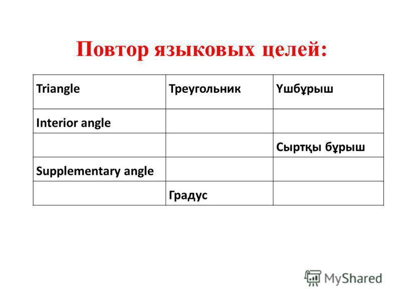 Triangle ТреугольникҮшбұрыш Interior angle Сыртқы бұрыш Supplementary angle Градус Повтор языковых целей: