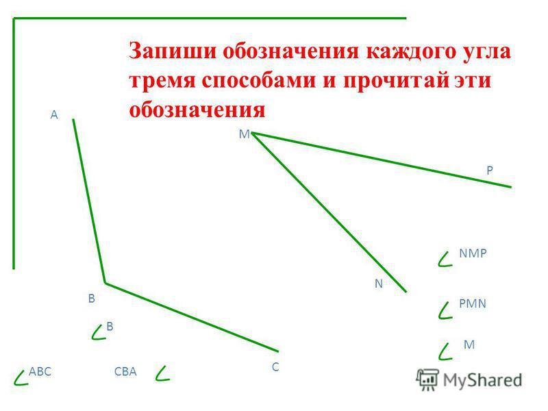 Запиши обозначения каждого угла тремя способами и прочитай эти обозначения А В С М N P ABC CBA NMP PMN В М