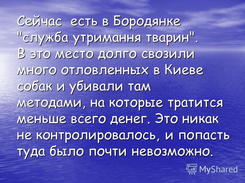 Сейчас есть в Бородянке служба утримання тварин. В это место долго свозили много отловленных в Киеве собак и убивали там методами, на которые тратится меньше всего денег. Это никак не контролировалось, и попасть туда было почти невозможно.