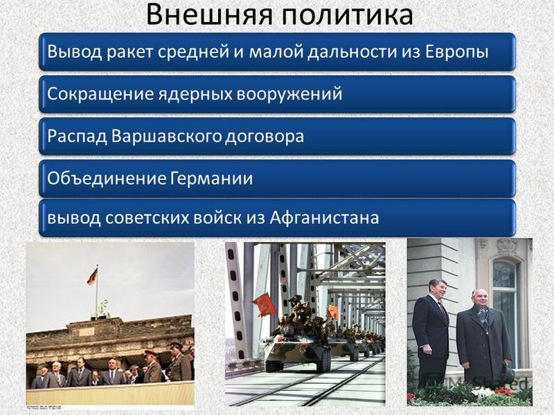 Внешняя политика Вывод ракет средней и малой дальности из Европы Сокращение ядерных вооружений Распад Варшавского договора Объединение Германиивывод советских войск из Афганистана