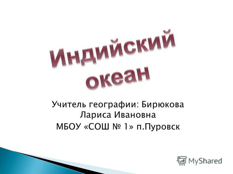 Учитель географии: Бирюкова Лариса Ивановна МБОУ «СОШ 1» п.Пуровск