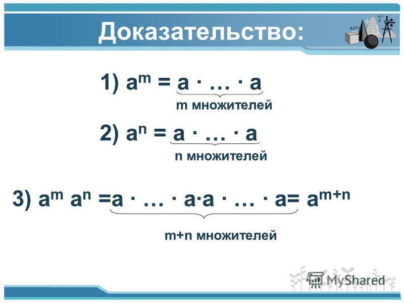 Доказательство: 1) а m = a · … · a m множителей 2) a n = a · … · a n множителей 3) a m a n =a · … · a·a · … · a= a m+n m+n множителей