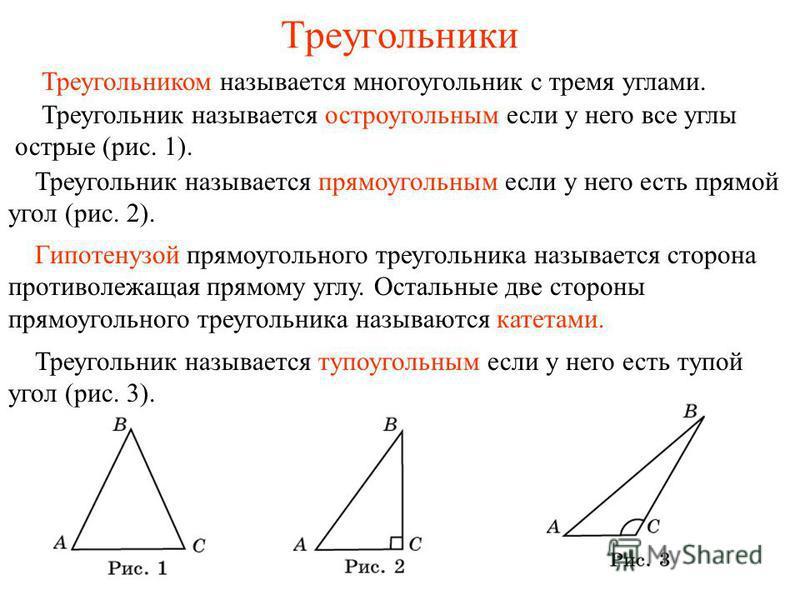 Треугольники Треугольник называется остроугольным если у него все углы острые (рис. 1). Треугольник называется прямоугольным если у него есть прямой угол (рис. 2). Треугольник называется тупоугольным если у него есть тупой угол (рис. 3). Треугольнико