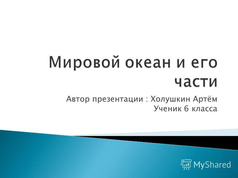 Автор презентации : Холушкин Артём Ученик 6 класса