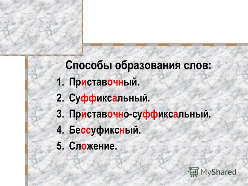 Способы образования слов: 1.Приставочный. 2.Суффиксальный. 3.Приставочно-с уффиксальный. 4.Бесс уфиксный. 5.Сложение.