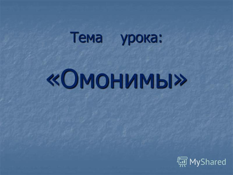 Тема урока: «Омонимы»