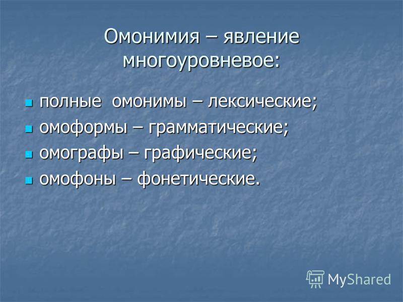 Омонимия – явление многоуровневое: полные омонимы – лексические; полные омонимы – лексические; омоформы – грамматические; омоформы – грамматические; омографы – графические; омографы – графические; омофоны – фонетические. омофоны – фонетические.