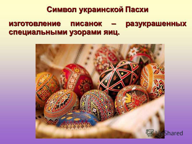 Символ украинской Пасхи изготовление писанок – разукрашенных специальными узорами яиц.