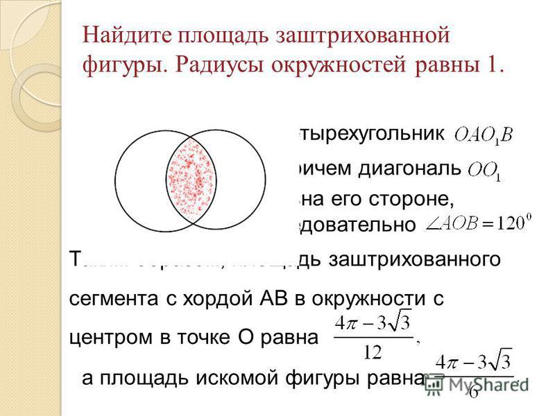 Найдите площадь заштрихованной фигуры. Радиусы окружностей равны 1. Четырехугольник причем диагональ равна его стороне, следовательно Таким образом, площадь заштрихованного сегмента с хордой АВ в окружности с центром в точке О равна а площадь искомой
