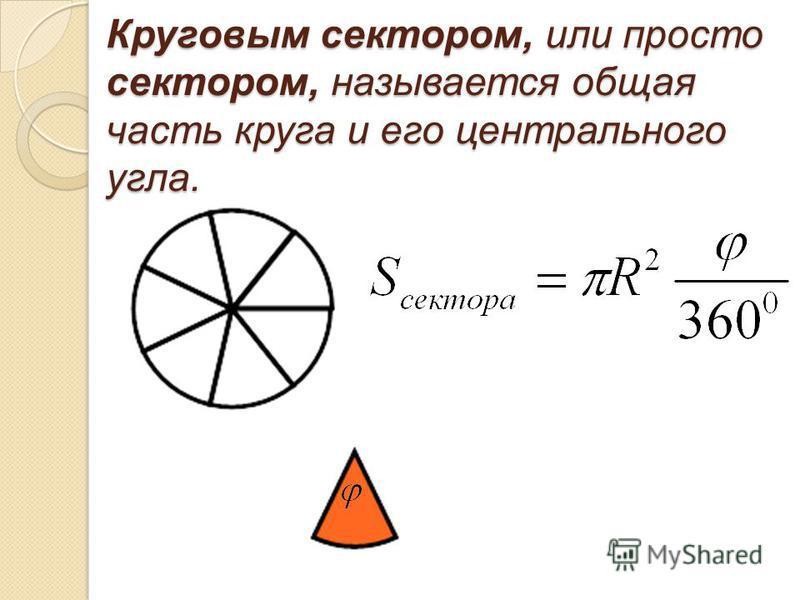 Круговым сектором, или просто сектором, называется общая часть круга и его центрального угла.