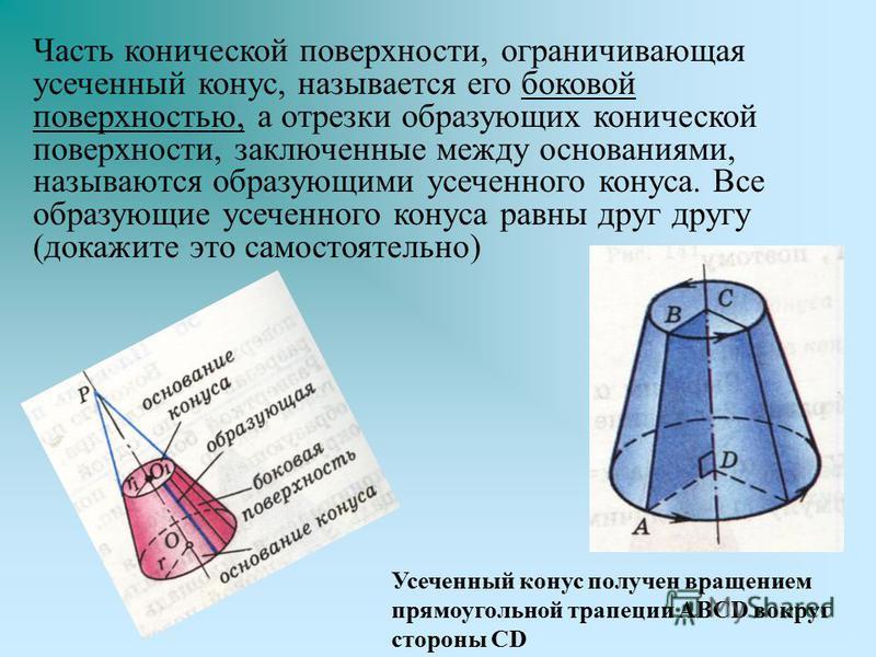 Часть конической поверхности, ограничивающая усеченный конус, называется его боковой поверхностью, а отрезки образующих конической поверхности, заключенные между основаниями, называются образующими усеченного конуса. Все образующие усеченного конуса