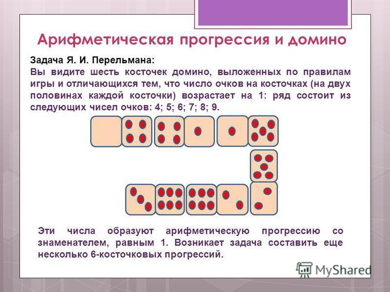 Арифметическая прогрессия и домино Задача Я. И. Перельмана: Вы видите шесть косточек домино, выложенных по правилам игры и отличающихся тем, что число очков на косточках (на двух половинах каждой косточки) возрастает на 1: ряд состоит из следующих чи