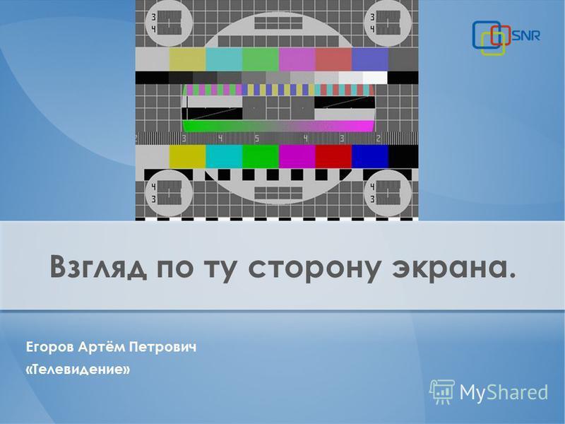 Взгляд по ту сторону экрана. Егоров Артём Петрович «Телевидение»