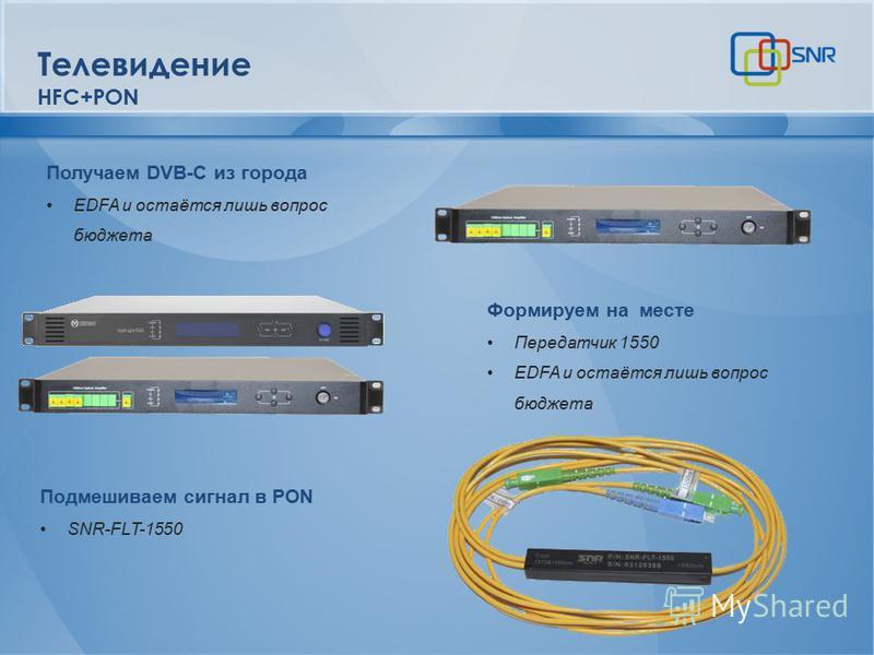Получаем DVB-C из города EDFA и остаётся лишь вопрос бюджета Телевидение HFC+PON Формируем на месте Передатчик 1550 EDFA и остаётся лишь вопрос бюджета Подмешиваем сигнал в PON SNR-FLT-1550