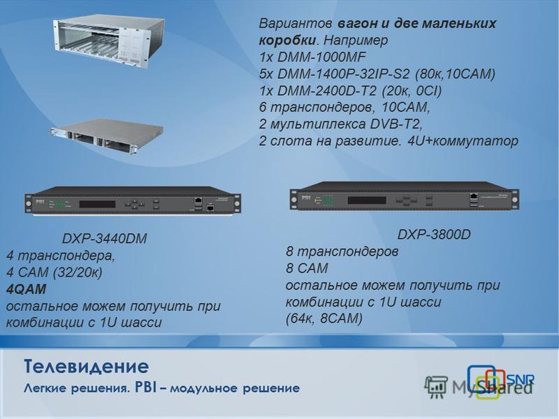Телевидение Легкие решения. PBI – модульное решение Вариантов вагон и две маленьких коробки. Например 1x DMM-1000MF 5x DMM-1400P-32IP-S2 (80 к,10CAM) 1x DMM-2400D-T2 (20 к, 0CI) 6 транспондеров, 10CAM, 2 мультиплекса DVB-T2, 2 слота на развитие. 4U+к
