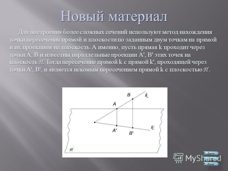 Новый материал Далее Меню Назад Для построения более сложных сечений используют метод нахождения точки пересечения прямой и плоскости по заданным двум точкам на прямой и их проекциям на плоскость. А именно, пусть прямая k проходит через точки А, В и