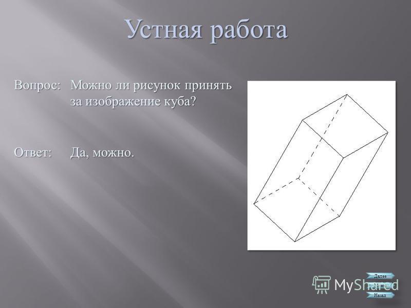Устная работа Далее Меню Назад Вопрос : Можно ли рисунок принять за изображение куба ? Ответ : Да, можно.