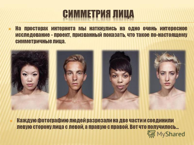 На просторах интернета мы наткнулись на одно очень интересное исследование - проект, призванный показать, что такое по-настоящему симметричные лица. Каждую фотографию людей разрезали на две части и соединили левую сторону лица с левой, а правую с пра