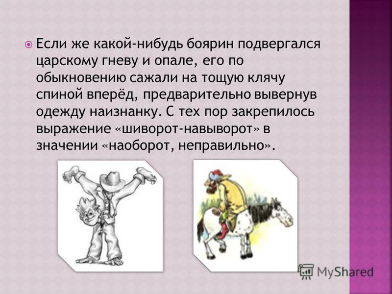 Если же какой-нибудь боярин подвергался царскому гневу и опале, его по обыкновению сажали на тощую клячу спиной вперёд, предварительно вывернув одежду наизнанку. С тех пор закрепилось выражение «шиворот-навыворот» в значении «наоборот, неправильно».