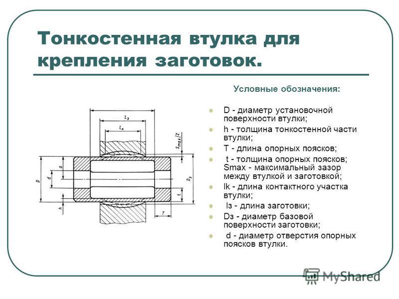 Тонкостенная втулка для крепления заготовок. Условные обозначения: D - диаметр установочной поверхности втулки; h - толщина тонкостенной части втулки; T - длина опорных поясков; t - толщина опорных поясков; Smax - максимальный зазор между втулкой и з