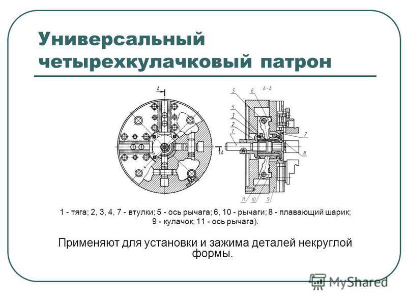 Универсальный четырехкулачковый патрон 1 - тяга; 2, 3, 4, 7 - втулки; 5 - ось рычага; 6, 10 - рычаги; 8 - плавающий шарик; 9 - кулачок; 11 - ось рычага). Применяют для установки и зажима деталей некруглой формы.