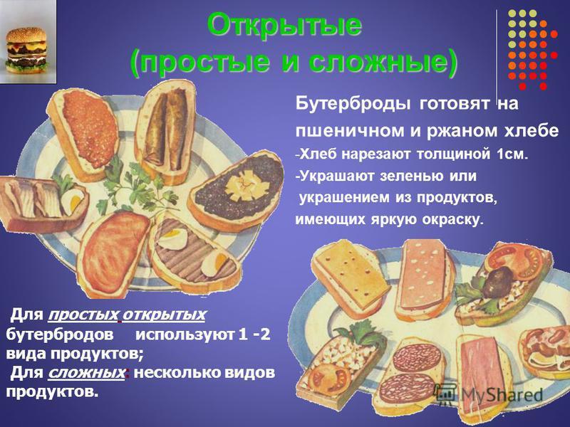 Открытые (простые и сложные) Открытые (простые и сложные) Бутерброды готовят на пшеничном и ржаном хлебе -Хлеб нарезают толщиной 1 см. -Украшают зеленью или украшением из продуктов, имеющих яркую окраску. Для простых открытых бутербродов используют 1