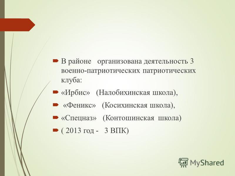 В районе организована деятельность 3 военно-патриотических патриотических клуба: «Ирбис» (Налобихинская школа), «Феникс» (Косихинская школа), «Спецназ» (Контошинская школа) ( 2013 год - 3 ВПК)
