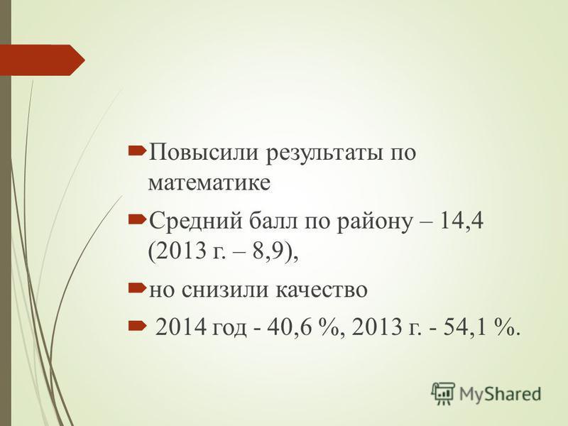 Повысили результаты по математике Средний балл по району – 14,4 (2013 г. – 8,9), но снизили качество 2014 год - 40,6 %, 2013 г. - 54,1 %.