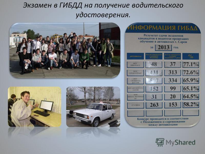 Экзамен в ГИБДД на получение водительского удостоверения.