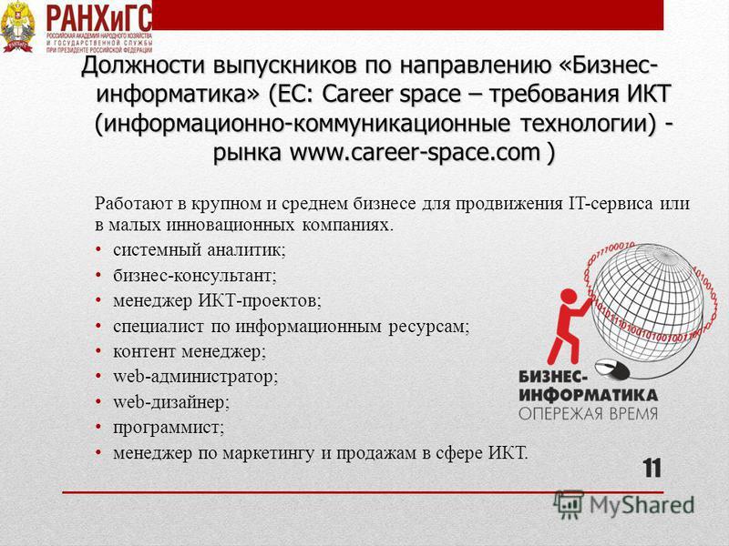 Должности выпускников по направлению «Бизнес- информатика» (EC: Career space – требования ИКТ (информационно-коммуникационные технологии) - рынка www.career-space.com ) Работают в крупном и среднем бизнесе для продвижения IT-сервиса или в малых иннов
