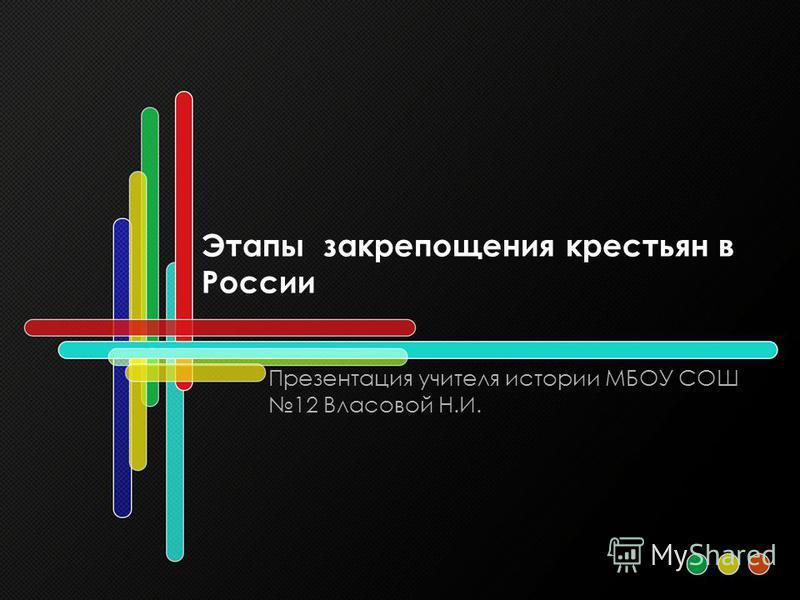 Этапы закрепощения крестьян в России Презентация учителя истории МБОУ СОШ 12 Власовой Н.И.
