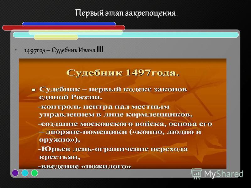 Первый этап закрепощения 1497 год – Судебник Ивана III