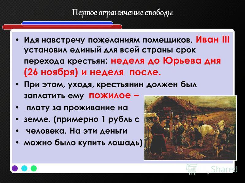 Первое ограничение свободы Идя навстречу пожеланиям помещиков, Иван III установил единый для всей страны срок перехода крестьян : неделя до Юрьева дня (26 ноября) и неделя после. При этом, уходя, крестьянин должен был заплатить ему пожилое – плату за