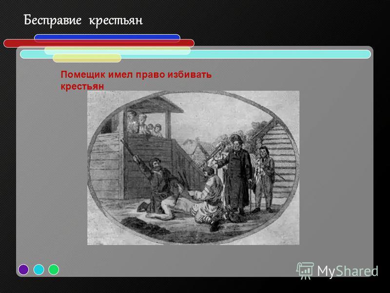 Бесправие крестьян Помещик имел право избивать крестьян