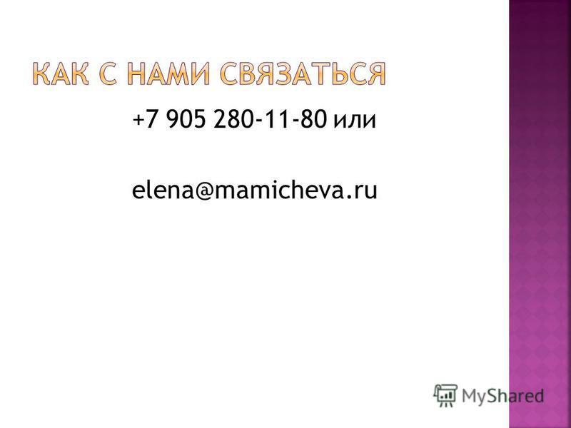 +7 905 280-11-80 или elena@mamicheva.ru