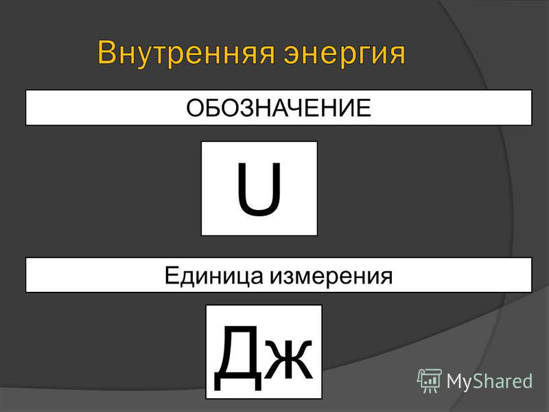 U ОБОЗНАЧЕНИЕ Единица измерения Дж